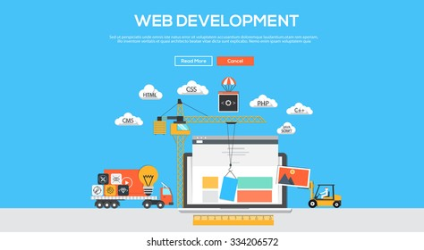 Flat  design graphic image concept, website elements layout of Web Development. Icons Collection of Creative Work Flow Items. Vector Illustration