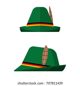 Flat design green oktoberfest hat on white background. Front and side view. Vector illustration.