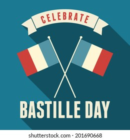 Flat design greeting card for the French National Day, July 14, Bastille Day.