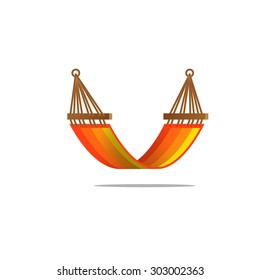 Flat design hammock orange stripes stripes isolated with shades gradient detailed