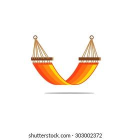 Flat design hammock orange stripes isolated
