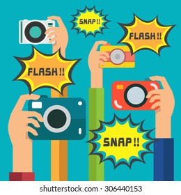 Flat design hand holding digital camera ,snap shot, flash, vector, illustration