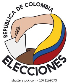 Flat design with a hand making its vote with the tricolor flag in the Elections for Republic of Colombia (written in Spanish).