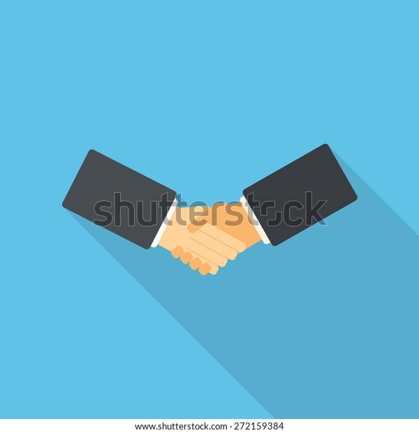 Flat design handshake vector illustration