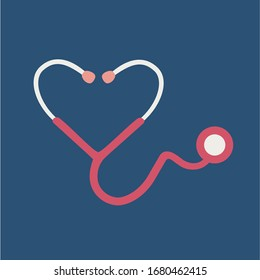 flat design heart shape Stethoscope medical instrument vector icon. healthcare love support logo for doctor & nurse. outbreak coronavirus symbol. save life & humanity from pandemic. emblem support art