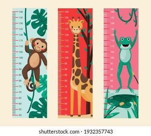 Flat design height meter set Vector illustration.