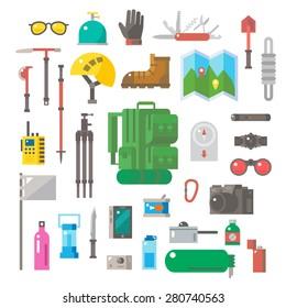 Flat design of hiking equipment set illustration vector