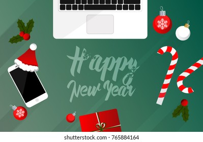 Flat design of holiday New Year and X-mas desktop. Workspace top view. Workplace with laptop, phone, Christmas decorations, misletoe, candy cane and box. Vector illustration. isolated.