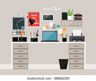 Flat  design of  home office interior with desk and laptop