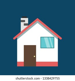 Flat design of house with chute icon.