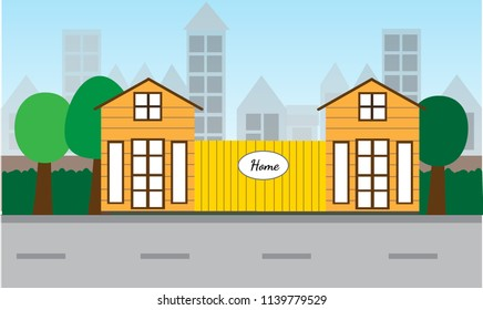flat design of house and city landscape.