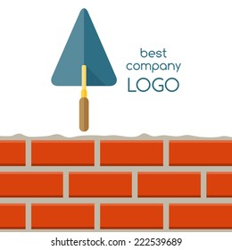 Flat design of house repair logo. Cement trowel and brick wall isolated on white background