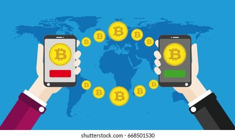 Flat design with human hands, smartphones and golden bitcoins. Eps 10 vector file.
