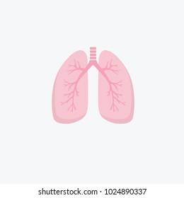 Flat design human lungs icon. Human internal organ. Anatomy concept. Respiratory system. Healthcare