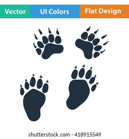 Flat design icon of bear trails in ui colors. Vector illustration.