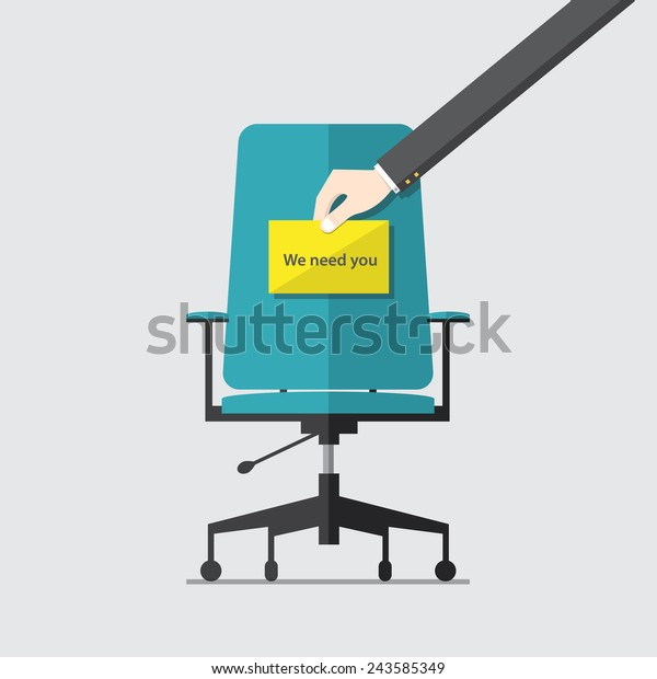 Flat design icon for business chair with Hand holding cardboard paper with we need you message, vector,  illustration