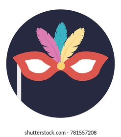 Flat design icon of carnival mask
