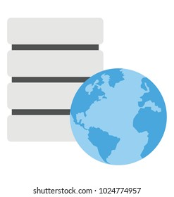 Flat design icon of global data repository or global database