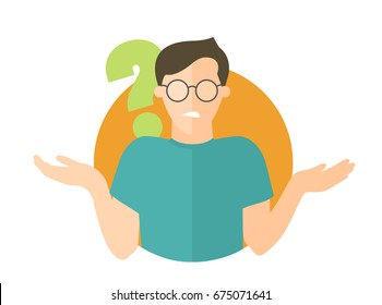 Flat design icon. Handsome man in glasses doubts. Guy with a question mark. Simply editable isolated vector illustration