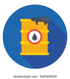 A Flat design icon of oil barrel