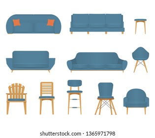 Flat design icon set of chair sofa and furniture. Modern furniture in flat gradient style. Vector Illustration
