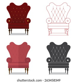 Flat design icon set of classic chair in marsala color. Vector. Illustration.
