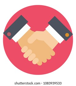 Flat design icon of shaking hands. Concept of deal.
