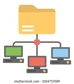 A flat design icon of shared folder