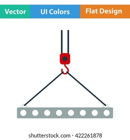 Flat design icon of slab hanged on crane hook by rope slings  in ui colors.