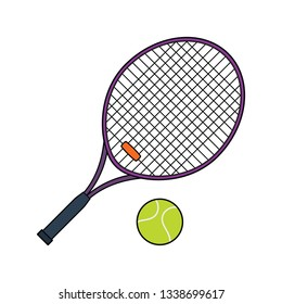 Flat design icon of Tennis rocket and ball  in ui colors. Vector illustration.