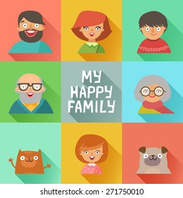 Flat design icons collection of family members avatars: mom, dad, son, daughter, grandmother, grandfather, dog and cat. Vector colorful illustrations in flat style.