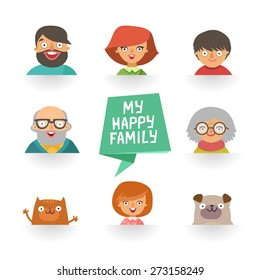 "Flat design icons collection of family members avatars: mom, dad, son, daughter, grandmother, grandfather, dog and cat, ribbon with ""My happy family"" text. Vector colorful illustrations in flat style"