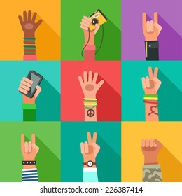 Flat design icons collection of hands of different young people. New Generation avatars set. Vector colorful illustration in flat design