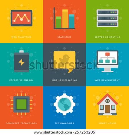 Flat Design Icons Diagram Graph Statistics Stock Vector