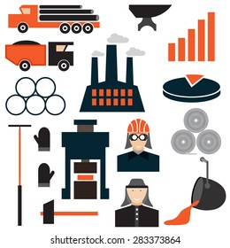 flat design icons of metallurgy industry