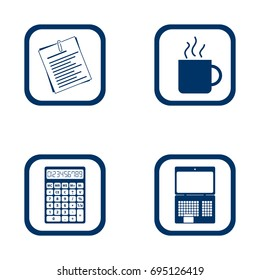 flat design icons office set - document, cup, calculator and laptop