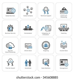 Flat Design Icons Set. Business Security. Global Business. Global Contacts. Credit Card Processing. Conversation. Targeting. Management. Coaching. Growth.