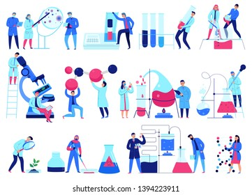 Flat design icons set with scientists working in science laboratory isolated on white background vector illustration