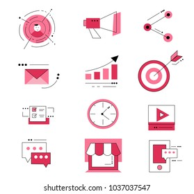 Flat design icons set vector illustration concept of web development service, digital marketing, graphic design.Digital marketing icons for websites, mobile apps.Business concept.