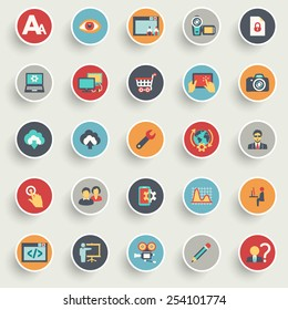 Flat design icons for web design development, SEO and internet marketing.