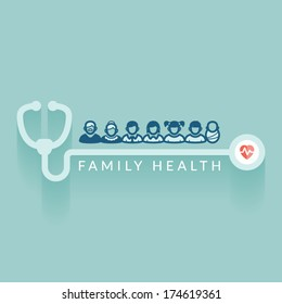 Flat design. Illustration about family health. Medical concept.