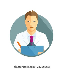 Flat design illustration with avatar of doctor holding clipboard