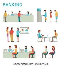 Flat design illustration of banking concept set, bank interior, counter desk, cashier, consulting, presenting, queuing for ATM.