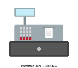 Flat design illustration of a cash desk with blank display, buttons and printed paper receipt - vector, isolated on white background
