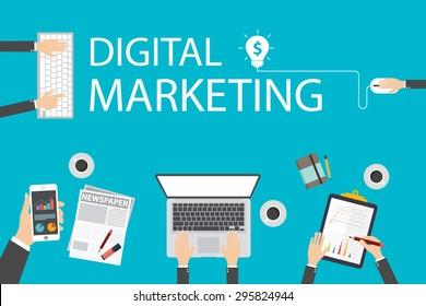 Flat design illustration concept for digital marketing. Concept for web banner