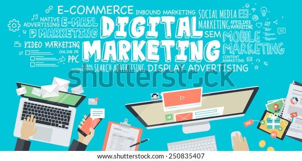 Concepto de ilustración de diseño plano para el marketing digital. Concepto de banner web y material promocional.