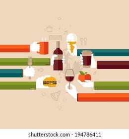 Flat design illustration concept for restaurant