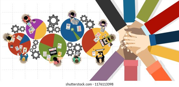 Flat design illustration concepts for business analysis and planning, consulting, team work, project management. Business, team work, cooperation and partnership.