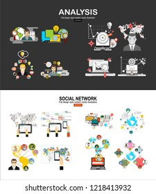 Flat design illustration concepts for business analysis and planning, consulting, team work, project management, financial report and strategy . Global social network abstract scheme.Social media. Fla
