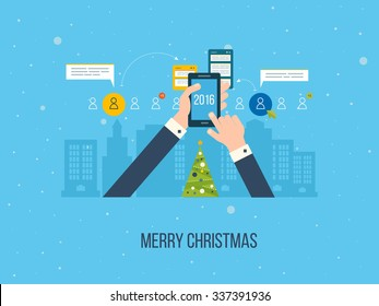 Flat design illustration concepts for business analysis and planning, consulting, team work, project management and development. Merry Christmas greeting card design.